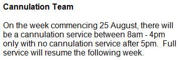 Cannulation Cancellation