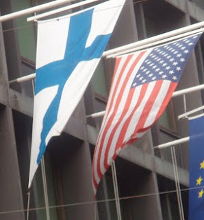finland flag and united states flag