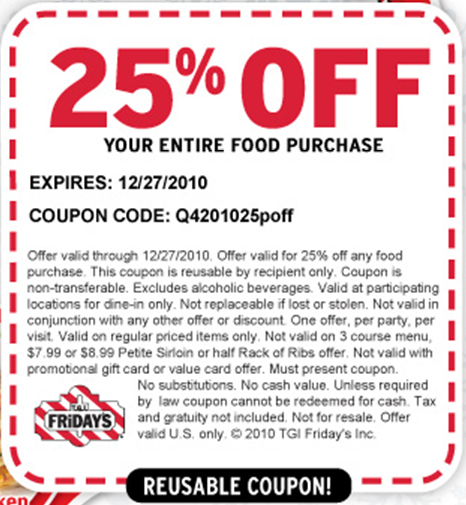 Tgi fridays coupon code