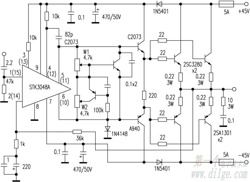 power amplifier use stk3048a for driver input