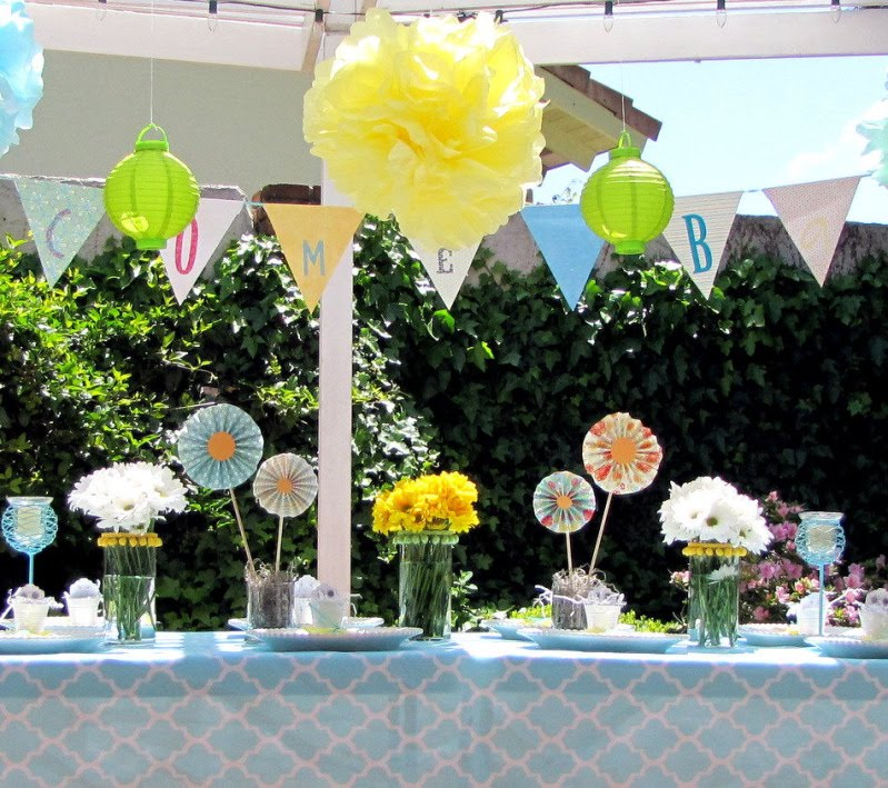 winning feature goes to this bright and cheerful garden baby shower
