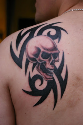Tribal and Skull Tattoo, Upper Back