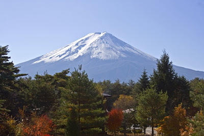 Mount Fuji capped wit snow