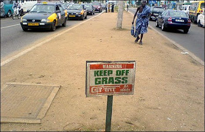 Funny Signs from Africa - keep off the grass