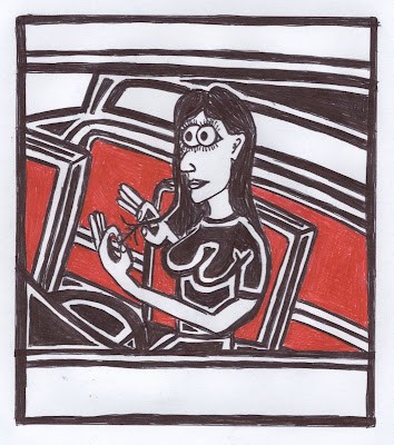 driving woman cartoon