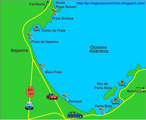 Mapa das praias de Itapema