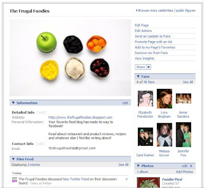 Frugal Foodies Facebook page