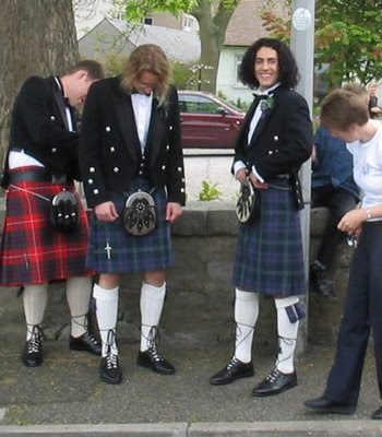 This is the cool thing about Scottish formal-wear -- for once it's the guys ...