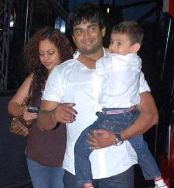 R Madhavan with his wife Sarita Birje and son Vedant