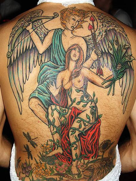 angel tattoos designs on back piece