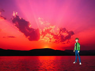 Ben Ten 10 standing tall Wallpapers in Classic Sunset background