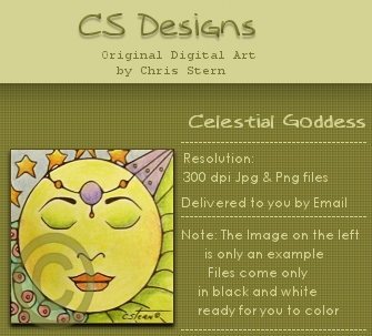 Celestial Goddess Digital Stamp