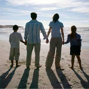 picture of family on beach