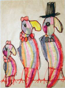 Parrot Family childhood drawing by Megan Coyle