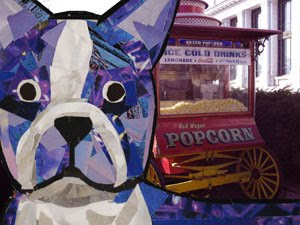 Bosty and Popcorn by collage artist Megan Coyle