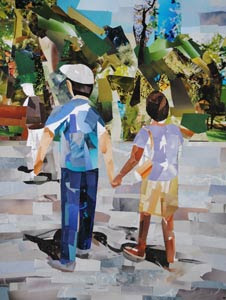 Stroll in the Park by collage artist Megan Coyle