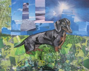 LuLu the Dachshund by collage artist Megan Coyle