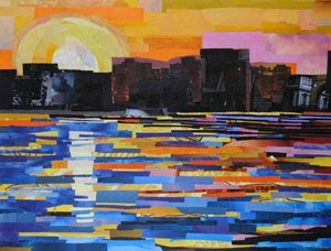 Sunset in the City by collage artist Megan Coyle