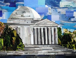 Jefferson Memorial by collage artist Megan Coyle