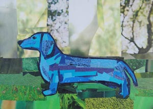 Blue Dachshund by collage artist Megan Coyle