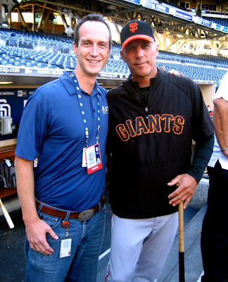 Giants third base coach Tim Flannery and John Weisbarth at PETCO Park