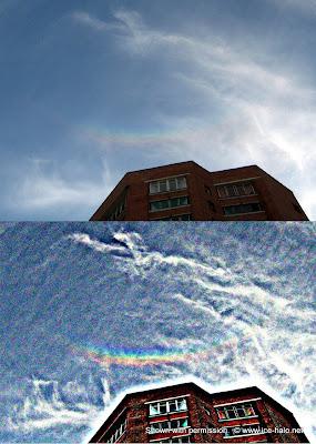 зенитная дуга, перевернутая радуга в небе, гало