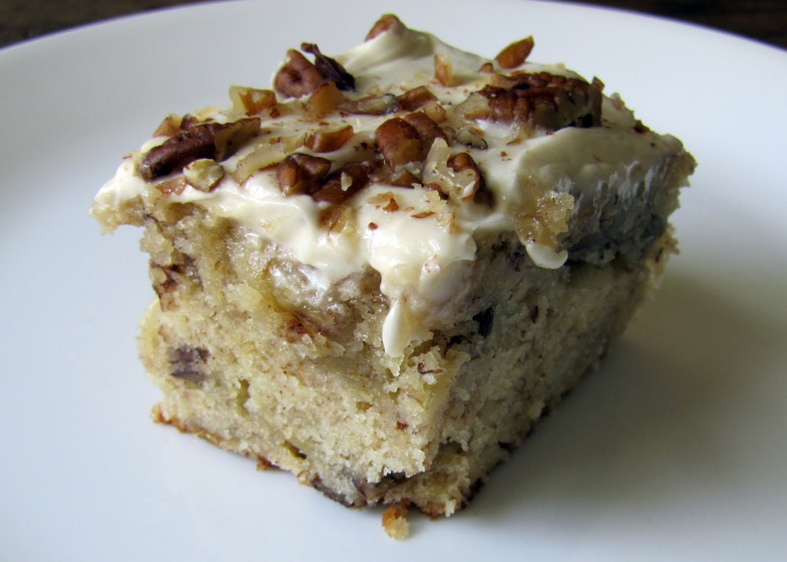 Hummingbird Cake is made up of bananas, pineapples and nuts topped ...