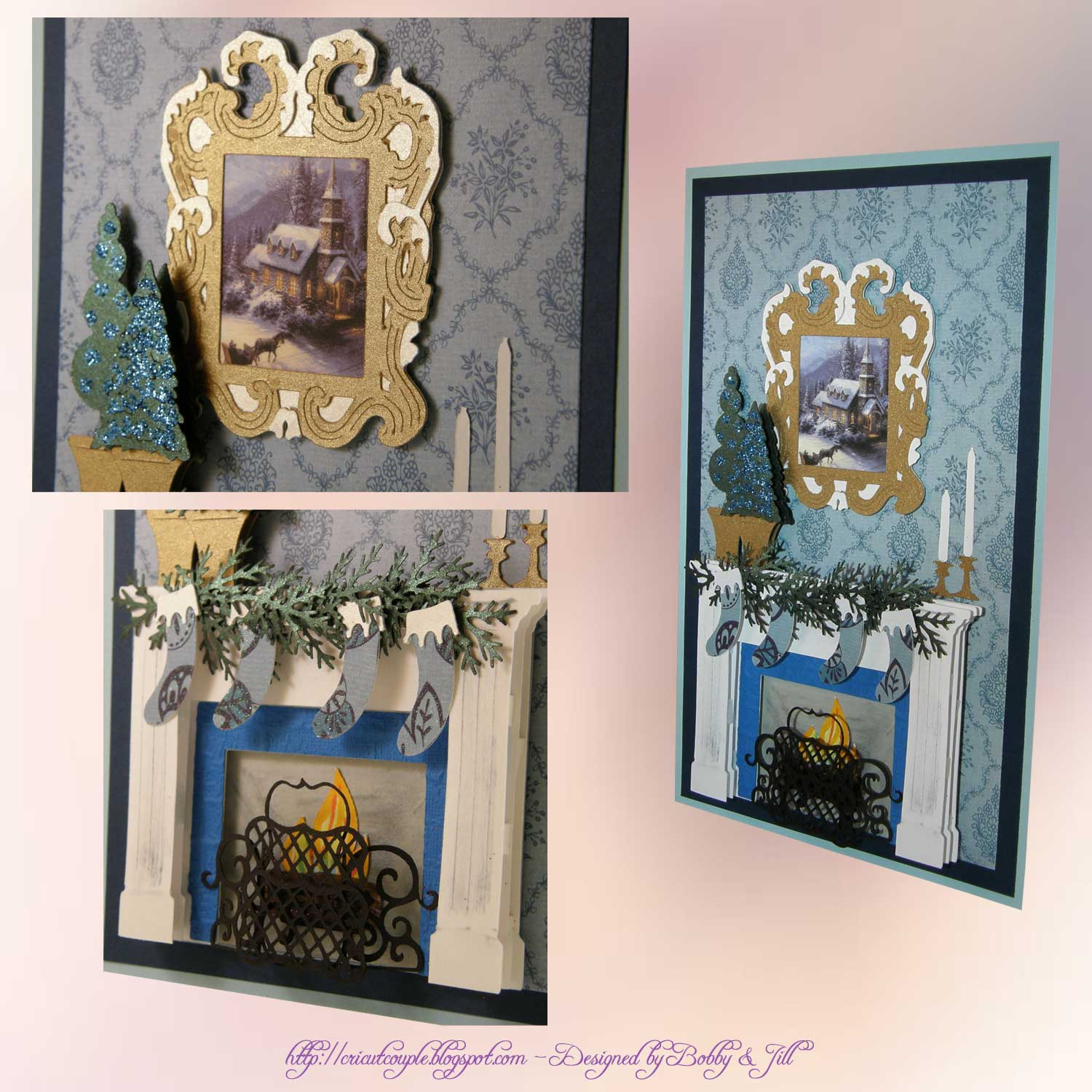 Blue Fireplace Card Collage