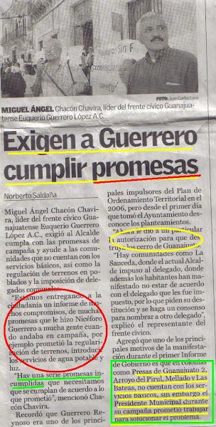 ¡Niceforo Guerrero promete y aún no cumple!