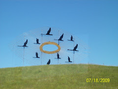 Metal art on a hill in North Dakota