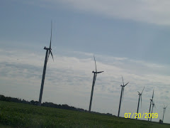 Windmill farm in Iowa countryside