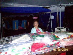 Mama with her quilts