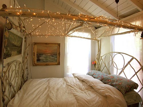 A Unique Twist On The Canopy Bed Putting Up Lights