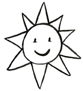 simple sun drawing black and white  Black & White