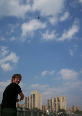 Peter flies his kite