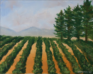 a painting a day - tuscan vineyard painting