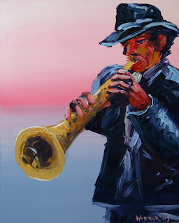 Daily Painter - Jazz #1 Acrylic Painting  - Original Oil and Acrylic Art - Painting a Day by California Artist Mark A. Webster