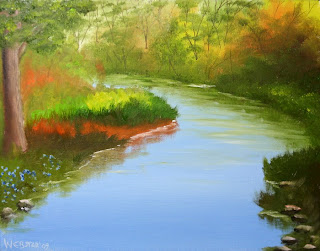 Winding River Painting - Daily Painting Blog - Original Oil and Acrylic Artwork by Artist Mark Webster