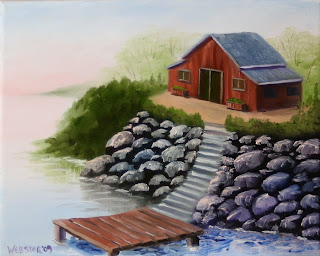 Cabin and Dock by the Lake Painting - Daily Painting Blog - Original Oil and Acrylic Artwork by Artist Mark Webster