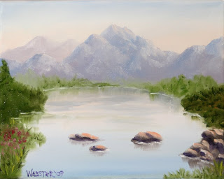 Mountain Lake Painting - Daily Painting Blog - Original Oil and Acrylic Artwork by Artist Mark Webster