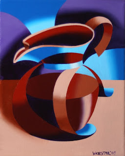 Futurist Abstract Coffee Pot Painting - Daily Painting Blog Original Oil and Acrylic by Artist Mark Webster