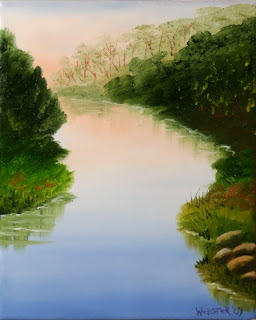 Sunset on the River - Daily Painting Blog - Original Oil and Acrylic Artwork by Artist Mark Webster