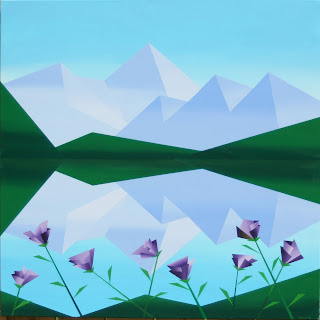 Daily Painters, Daily Paintings, Abstract Mountain Lake with Purple Flowers Painting - Daily Painting Blog - Original Oil and Acrylic by Artist Mark Webster