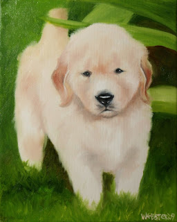Daily Painters, Daily Paintings, Golden Retriever Puppy on the Lawn Painting - Daily Painting Blog - Original Oil and Acrylic Artwork by Artist Mark Webster