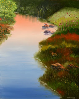 Daily Painters, Daily Paintings, Flowers on the River - Daily Painting Blog - Original Oil and Acrylic Artwork by Artist Mark Webster