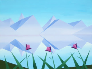 daily painters, daily paintings, Abstract Mountain Lake Reflection with Flowers Painting #2 - Daily Painting Blog - Original Oil and Acrylic by Artist Mark Webster