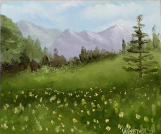 Daily Painters - Mountain Series #3 6x6 Landscape Painting - Daily Painter - Original Oil and Acrylic Art - Painting a Day by California Artist Mark A. Webster