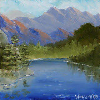 Daily Painters - Mountain Series #4 6x6 Landscape Painting - Daily Painter - Original Oil and Acrylic Art - Painting a Day by California Artist Mark A. Webster