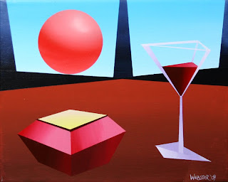 Abstract Glass of Wine on Planet X Painting by California Artist Mark Webster
