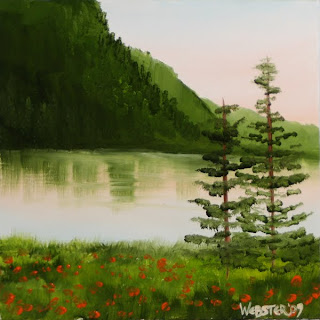 Daily Painters - Early Morning River View Painting - Daily Painter - Original Oil and Acrylic Art - Painting a Day by California Artist Mark A. Webster